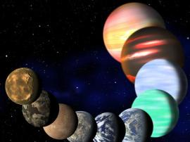 Imagem artística dos diferentes tipos de planeta encontrados na Via Láctea pelo Kepler.